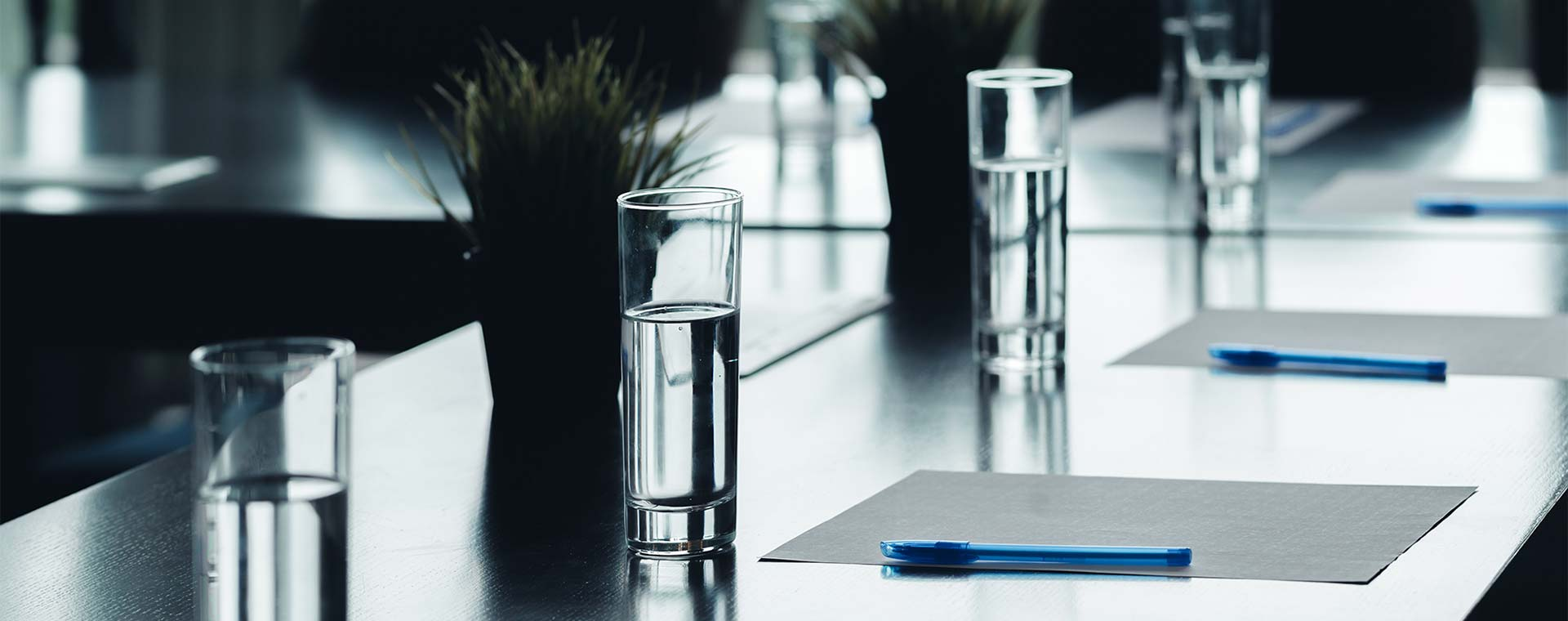 A close up of a conference room light by nature light. On the table are four glasses of water, notepaper, pens and succulent plants.