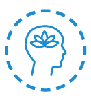 A circular blue and white icon of a head as seen from the side, with a lotus flower where the brain is. The head is encircled by a blue dashed line.