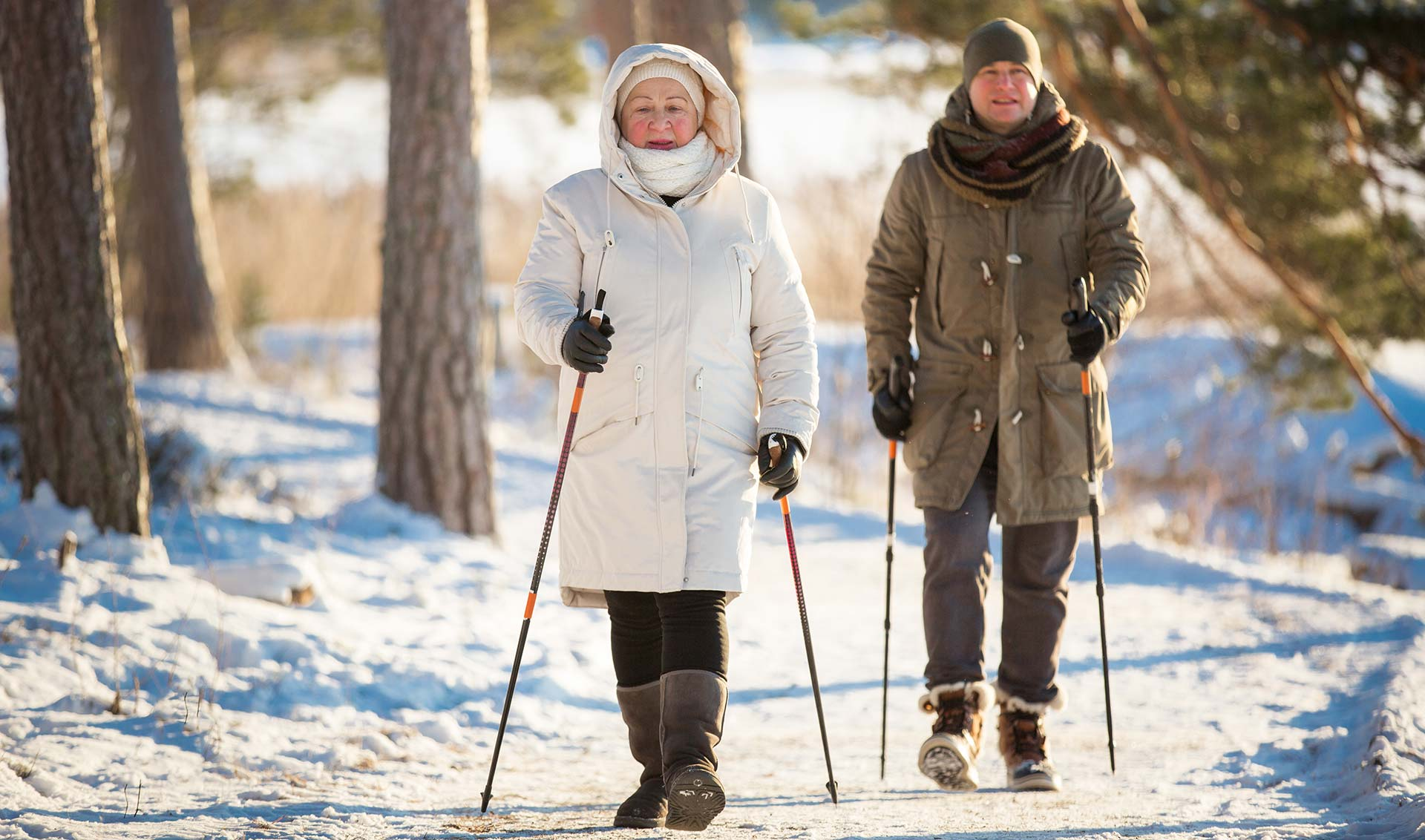 A senior couple is walking on a snowy path, it is a sunny winter day. They are using Nordic poles and are well bundled against the cold.