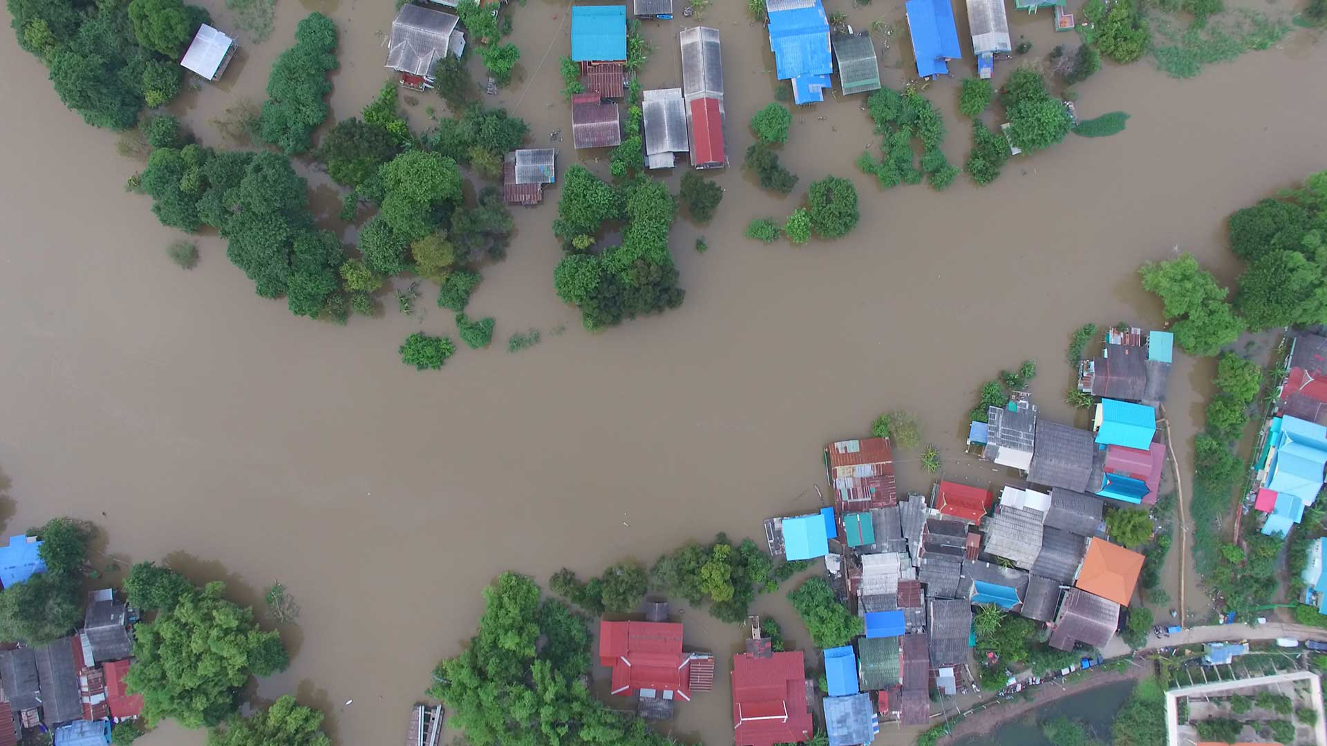 Aerial view of flooded houses.