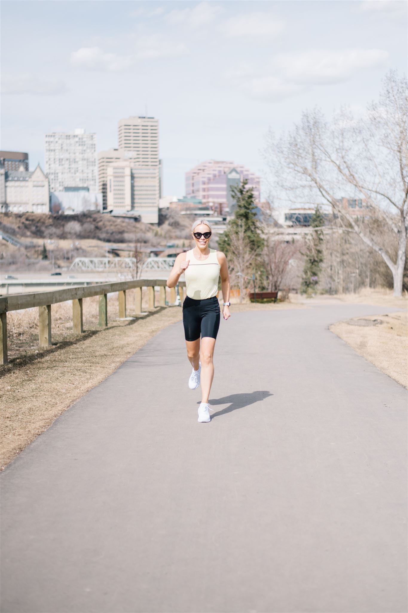 Richelle running in the Edmonton river valley